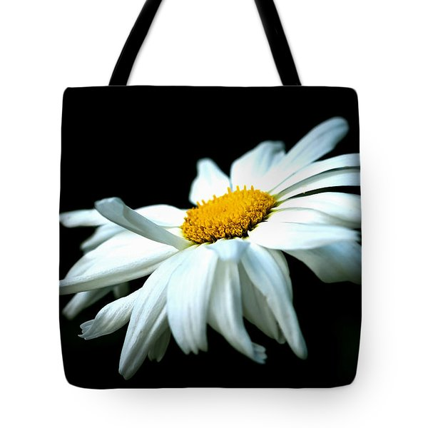 Tote Bag featuring the photograph White Daisy Flower In The Wind by Alexander Senin