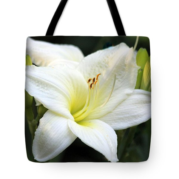 Tote Bag featuring the photograph White Day Lily by Irina Hays