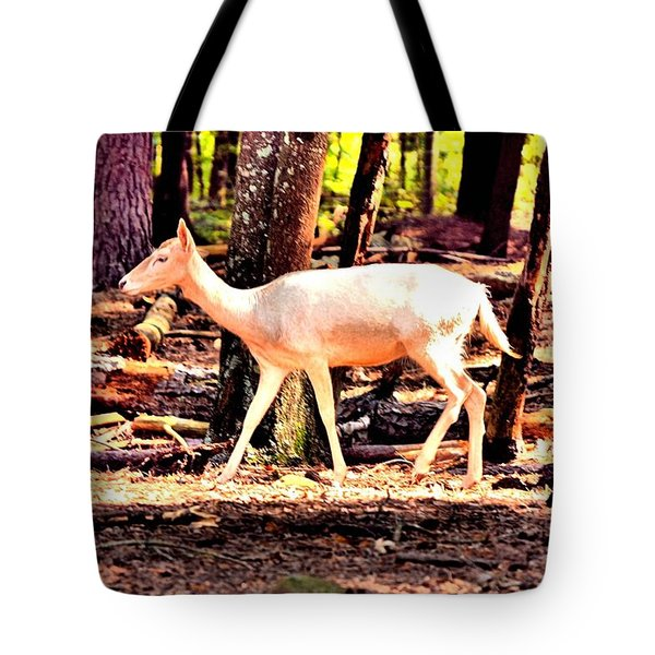 White Deer And Forest Stroll Tote Bag
