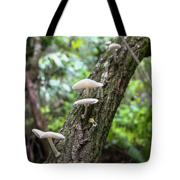 White Deer Mushrooms Tote Bag