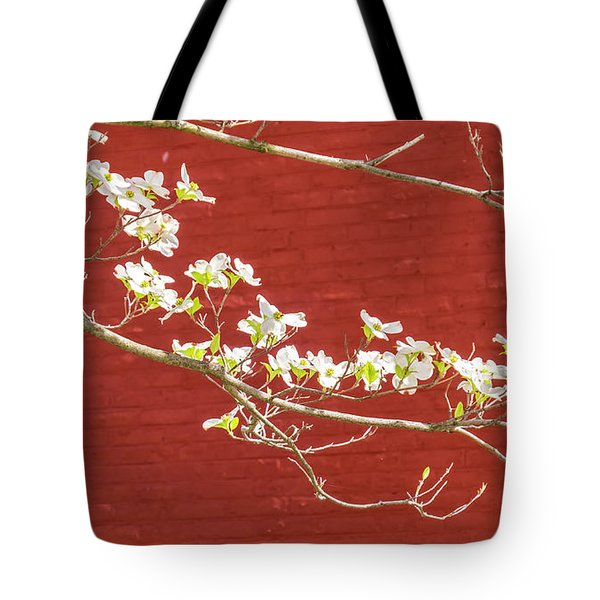White Dogwood Brick Wall Tote Bag