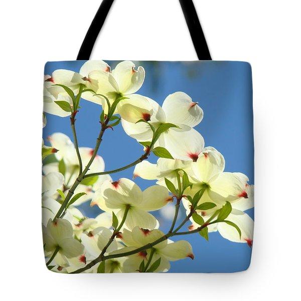 White Dogwood Flowers 1 Blue Sky Landscape Artwork Dogwood Tree Art Prints Canvas Framed Tote Bag by Baslee Troutman