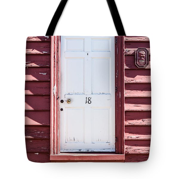 White Door And Peach Wall Tote Bag