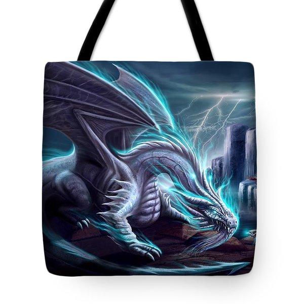 White Dragon Tote Bag by Anthony Christou