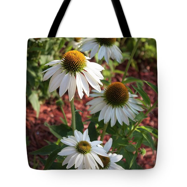 White Echinacea Tote Bag by Suzanne Gaff