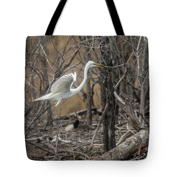 Tote Bag featuring the photograph White Egret by David Bearden