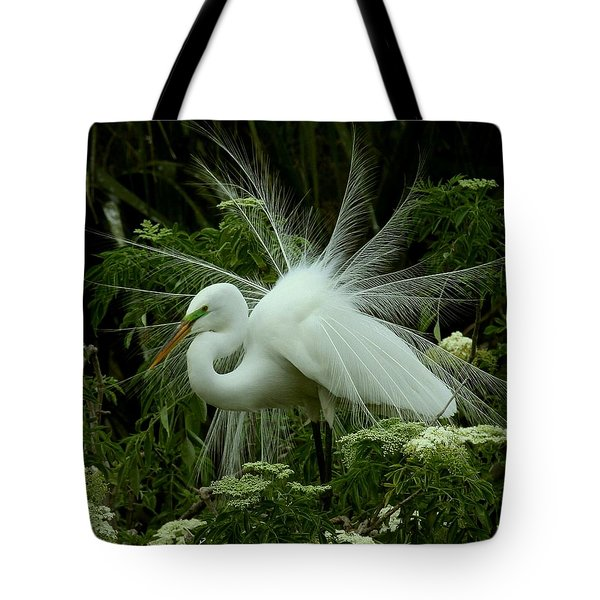 White Egret Displaying Tote Bag
