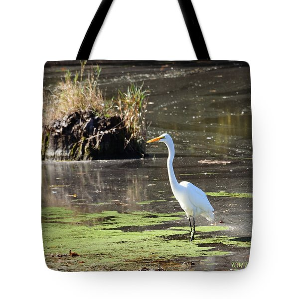 White Egret In The Shallows Tote Bag