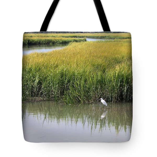 White Egret On Hunting Island Tote Bag by Ellen Tully