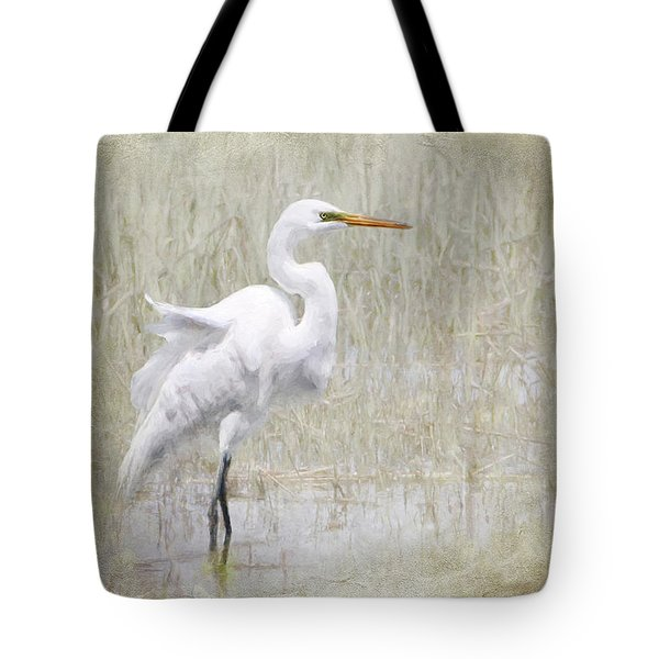 White Egret Rectangle Tote Bag