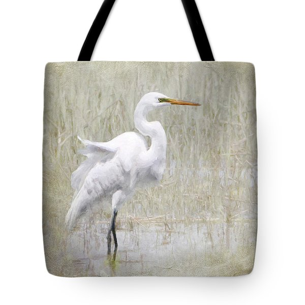 White Egret Rectangle Tote Bag