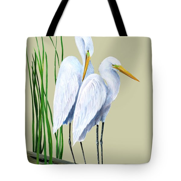 White Egrets And White Lillies Tote Bag by Kevin Brant