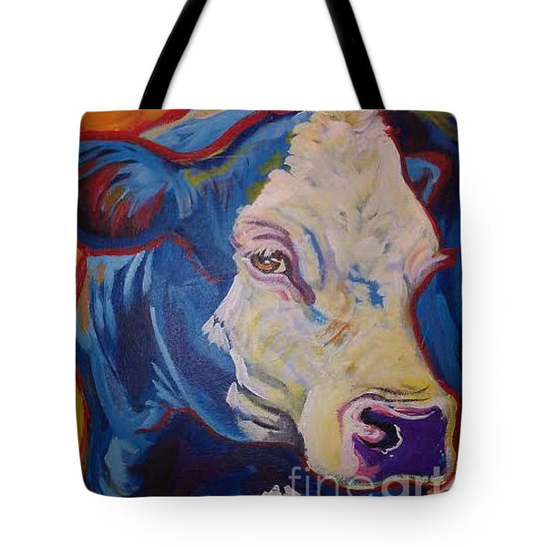 Tote Bag featuring the painting White Face Cow by Jenn Cunningham