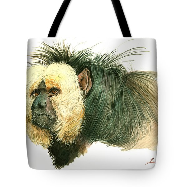 White Faced Saki Monkey Tote Bag