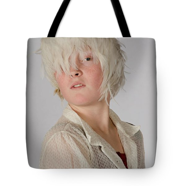 White Feather Wig Girl Tote Bag