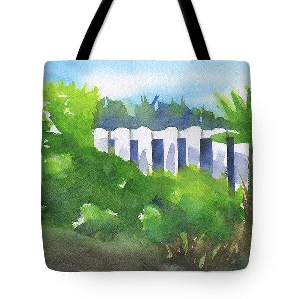 White Fence  Tote Bag