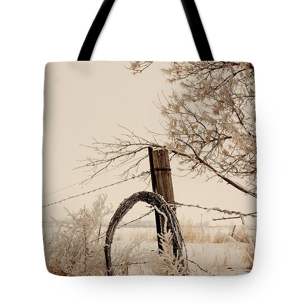 White Fence Tote Bag