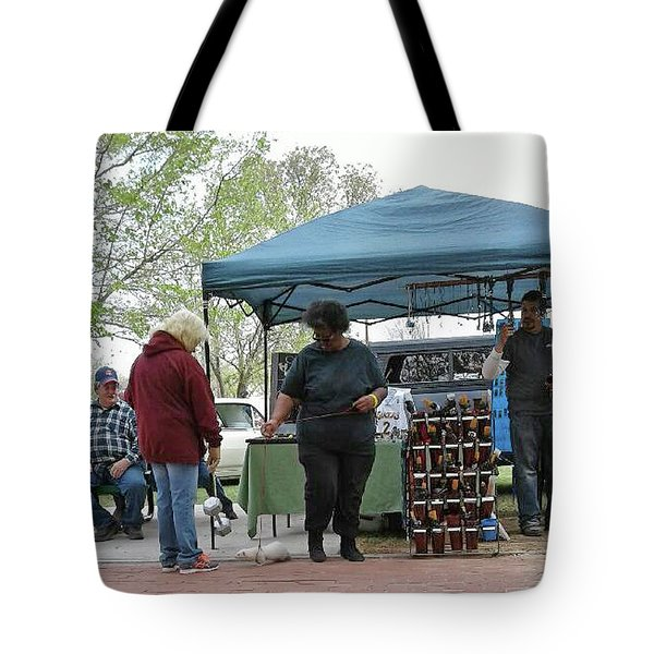 Tote Bag featuring the photograph White Ferret Car Show by Jack Pumphrey