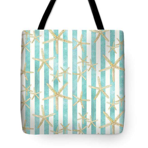 White Finger Starfish Watercolor Stripe Pattern Tote Bag