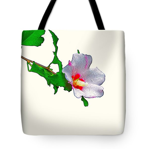 White Flower And Leaves Tote Bag