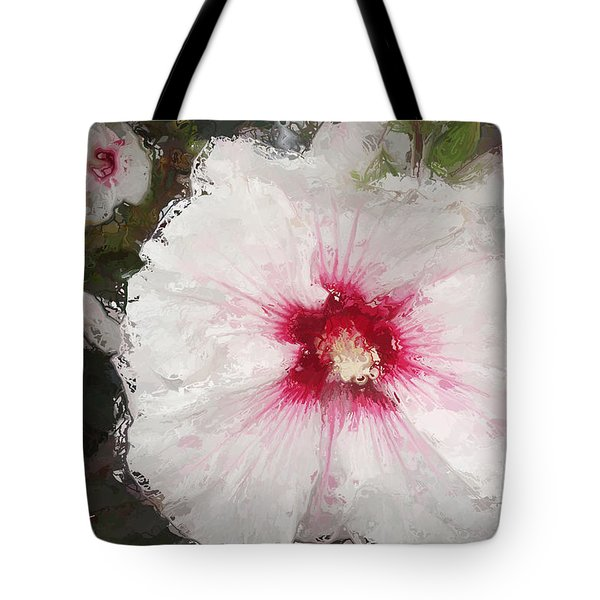 Tote Bag featuring the painting White Flower by Joan Reese
