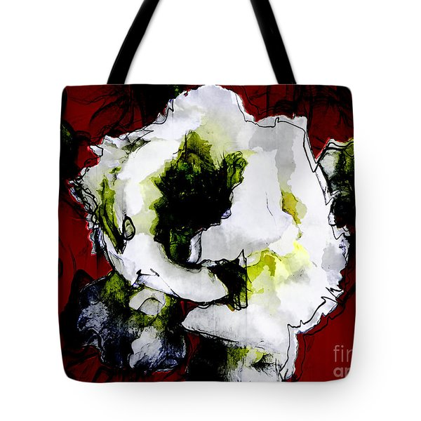 White Flower On Red Background Tote Bag by Craig Walters