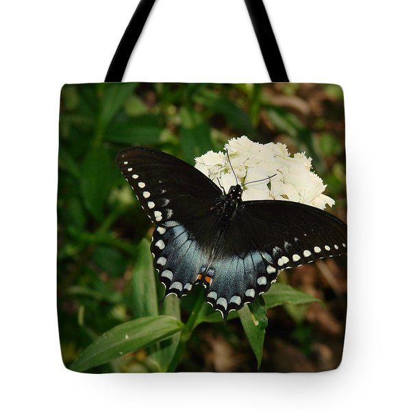 White Flowered Butterfly Tote Bag