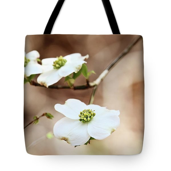Tote Bag featuring the photograph White Flowering Dogwood Tree Blossom by Stephanie Frey