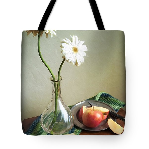 White Flowers And Red Apples Tote Bag