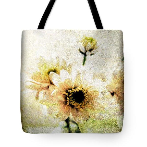 White Flowers Tote Bag by Linda Woods