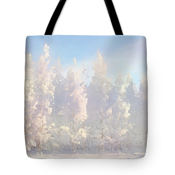 Tote Bag featuring the digital art White Forest Morning by Shelli Fitzpatrick