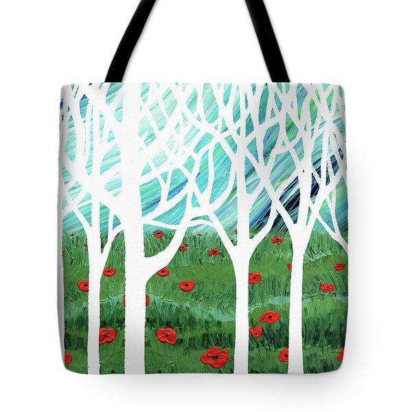 White Forest Poppy Field Blue Sky Tote Bag