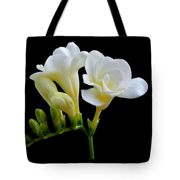 White Freesia Tote Bag