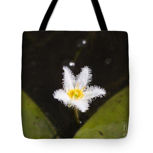 White Fringe Lily Tote Bag