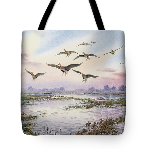 White-fronted Geese Alighting Tote Bag