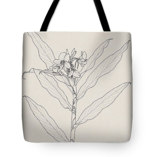 Tote Bag featuring the drawing White Ginger by Judith Kunzle