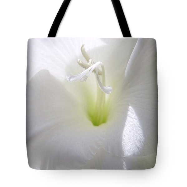 White Gladiola Flower Macro Tote Bag by Jennie Marie Schell
