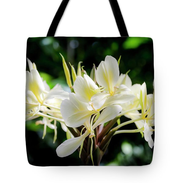 White Hawaiian Flowers Tote Bag