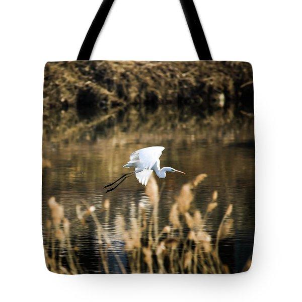 White Heron Tote Bag by Hyuntae Kim