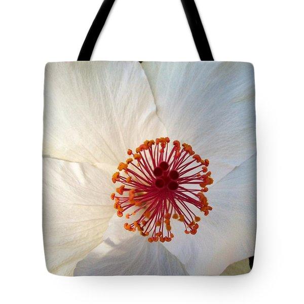 White Hibiscus Tote Bag by Alohi Fujimoto