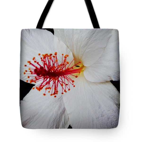 Tote Bag featuring the photograph White Hibiscus- Macro by Alohi Fujimoto