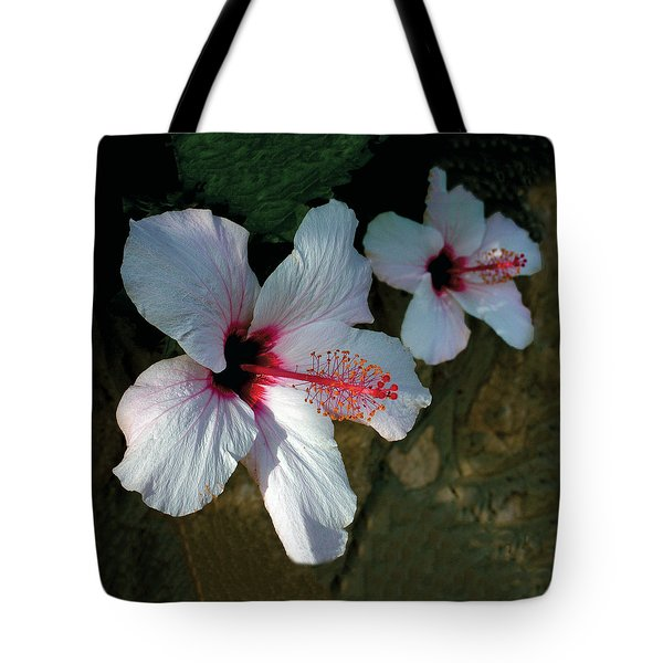 White Hibiscus Pair Tote Bag