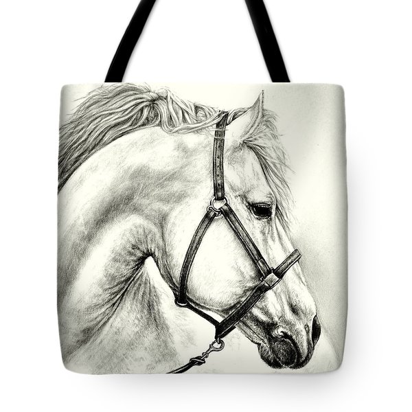 Tote Bag featuring the drawing White Horse by Heidi Kriel
