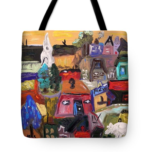 White Horse In The Village Field Tote Bag by Mary Carol Williams