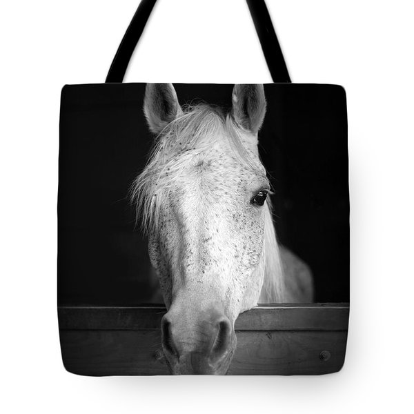 White Horse Tote Bag by Marion Johnson