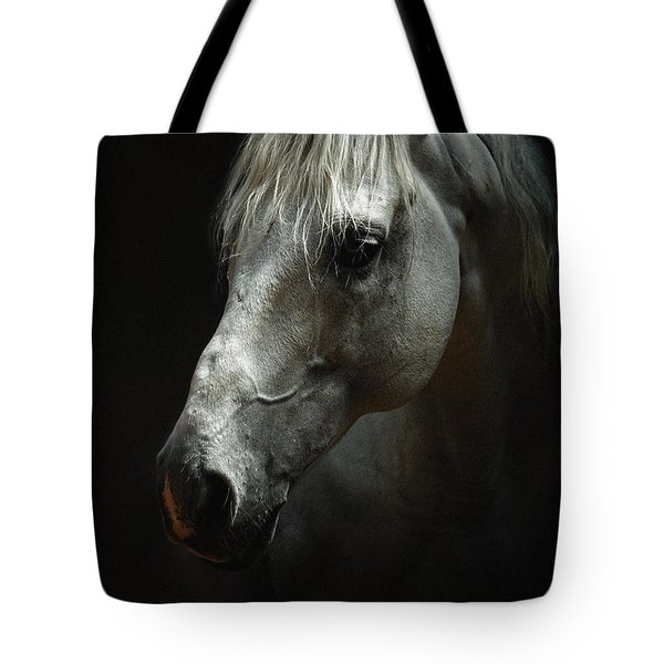 White Horse Portrait Tote Bag