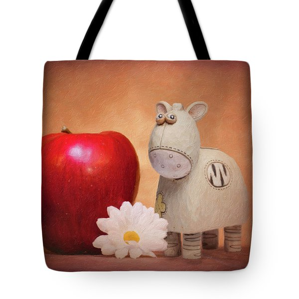 Tote Bag featuring the photograph White Horse With Apple by Tom Mc Nemar