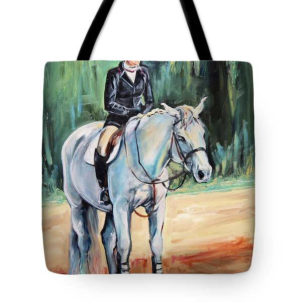 White Horse With Rider  Tote Bag