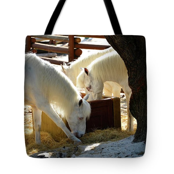 Tote Bag featuring the photograph White Horses Feeding by David Lee Thompson