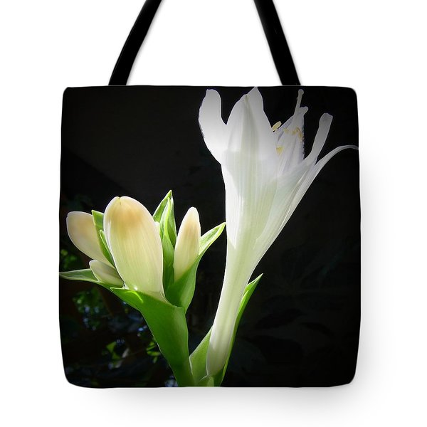 Tote Bag featuring the photograph White Hostas Blooming 7 by Maciek Froncisz